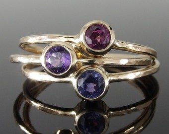 Purple Sapphire and 14k Yellow Gold Stack Ring Set, Magenta and Purple Sapphire Rings, 14k Gold Stack Ring Set, September Birthstone