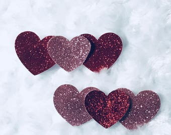 Glitter Red and Pink Heart Clips