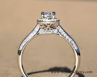 14k White gold - Diamond Engagement Ring - Halo - Pave - Dainty - Weddings - Luxury- Brides - Bp009