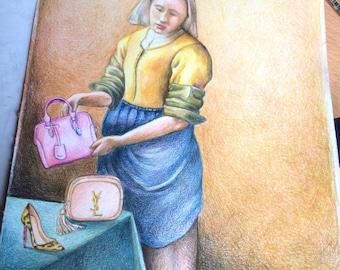 Vermeer's original colored pencil illustration drawing