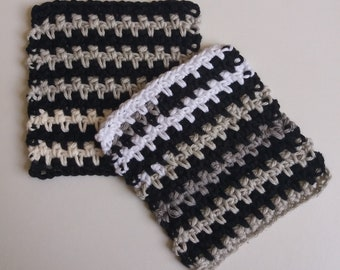 Set of 2 Cotton Crochet Cloths for Bodies or Dishes! Monochrome