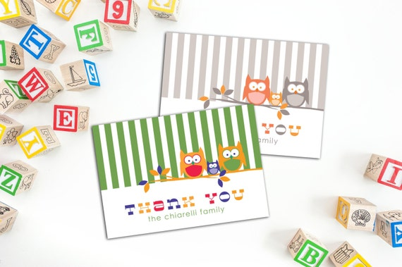 Owl Family Thank You Folded Note Cards, Personalized Family Thank You Cards