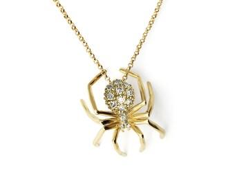 Medium Spider Pendant Necklace, Yellow Gold, Diamonds