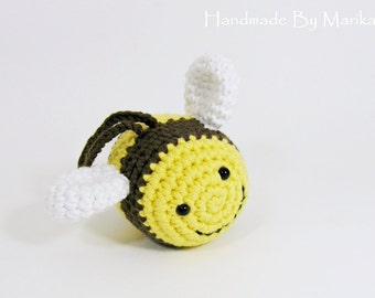 Bumble Bee baby rattle crochet toy - organic cotton - yellow and brown