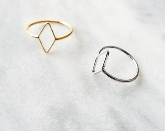 SALE HALF PRICE Rhombus Minimal Ring Silver Rhombus Ring Gold Rhombus Ring Diamond Ring Womens Gifts Gifts for Women Simple Ring