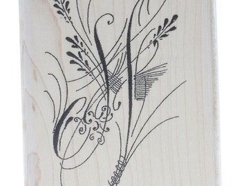 Plume Vining Swirls Stampington And Co Wooden Rubber Stamp