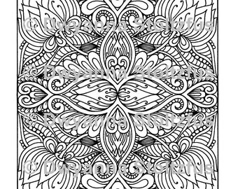 Mirrored Floral Design Coloring Page JPG