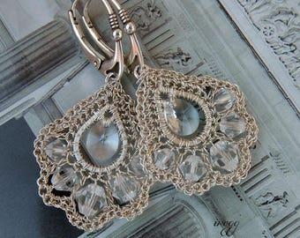 Swarovski crystal wedding earrings, openwork unique handmade bridal jewelry, crochet original wedding earring, retro bridal crystal earrings