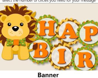 Jungle Birthday BANNER, Safari Birthday Party Decorations, Zoo Birthday Favor, Banner, Cake Topper, Cupcake, green, yellow, orange, printed