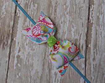 Boutique Paisley Headband Tuxedo Bow Skinny Elastic Headband Infant/Toddler Hair Bow Paisley Bright Baby Headband Summer Colors
