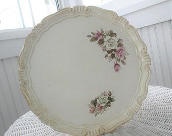 Vintage Florentine Tray * Shabby Chic * Roses * Round
