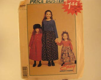 McCall's Sewing Pattern P340 sz 7-8-10-12-14 Children's and Girls' Dress [L15]