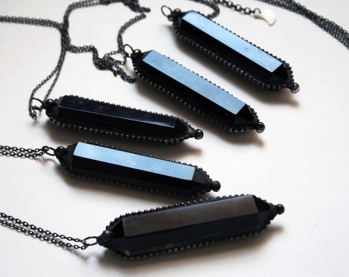 Large Black Obsidian Double Terminated Crystal Necklace