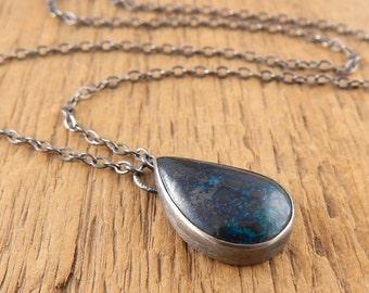 Shattuckite necklace, little blue stone pendant, small bezel-set stone, metalwork sterling silver necklace.