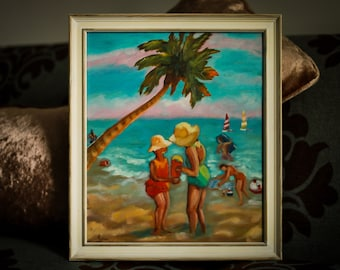 Sisters at the Beach - Oil Painting on Canvas