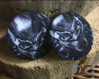Black Panther printed button earrings
