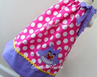 Chesire Cat from Alice in Wonderland Pink & Lavender Polka Dot Pillowcase  Dress