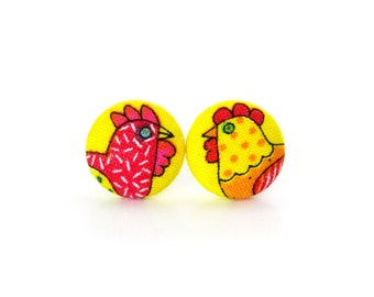 Funky chicken earrings -  small earrings for kids - tiny kawaii earrings - animal earrings - funny yellow earrings - hen cock farm jewelry