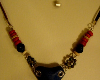leather and bead necklace.