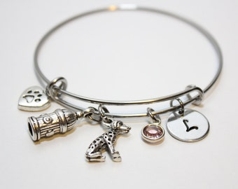 dalmation bangle, dalmation bracelet, dalmatian jewelry, dalmatian charm bracelet, dalmatian initial bracelet, dalmatian gift,dog lover gift