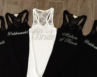 5 Bridesmaid Tank Top Shirt. Team Bride. Bride Shirt. Maid of Honor. Matron of Honor. Bridesmaid Shirts.