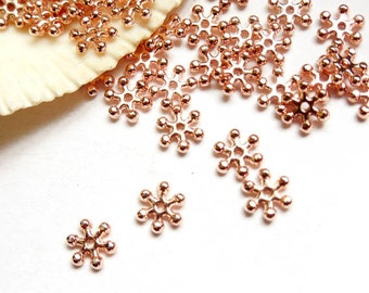 50 Rose Gold Plated Snowflake Spacers - 17-12