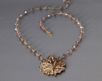 Sparkling autumn art deco necklace with purple crystals