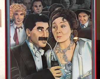 The Marx Brothers Groucho Marx Magic Lantern Movie Theater Red Framed Poster