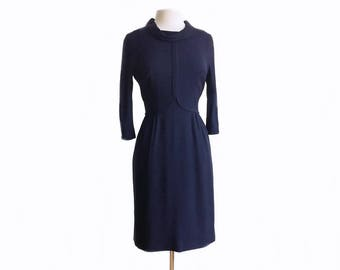 Vintage 1960s navy crepe dress/ Ben Barrack/ trim decorated bodice/ navy office dress/ 60s secretary dress