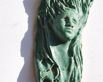 Tree Spirit, Ceramic sculpture, Celtic Goddess, wall hanging, Garden art, hand made, wall art, cottage decor,