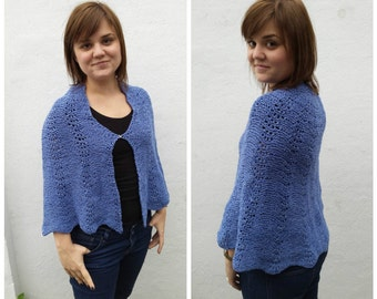Blue wool cape with scalloped edges, knit cape, knitted cape, blue cape, wool cape, blue capelet, wool capelet, knit capelet, wool capelet