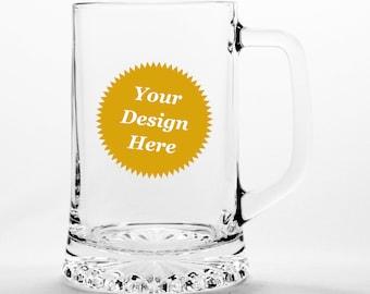 CUSTOM Beer Tankard Mug with Handle - Choose your etched design
