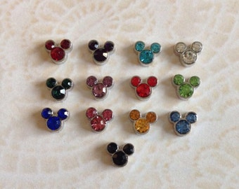 Mickey birthstone floating charms