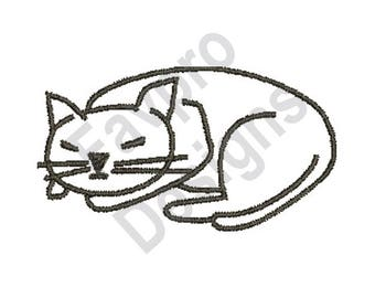 Cat Outline - Machine Embroidery Design