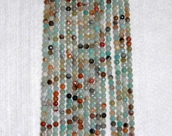 Amazonite, Amazonite Bead, Faceted Bead, Multicolor Beads, Semi Precious, Natural Amazonite, Full Strand, 4 mm, AdrianasBeads
