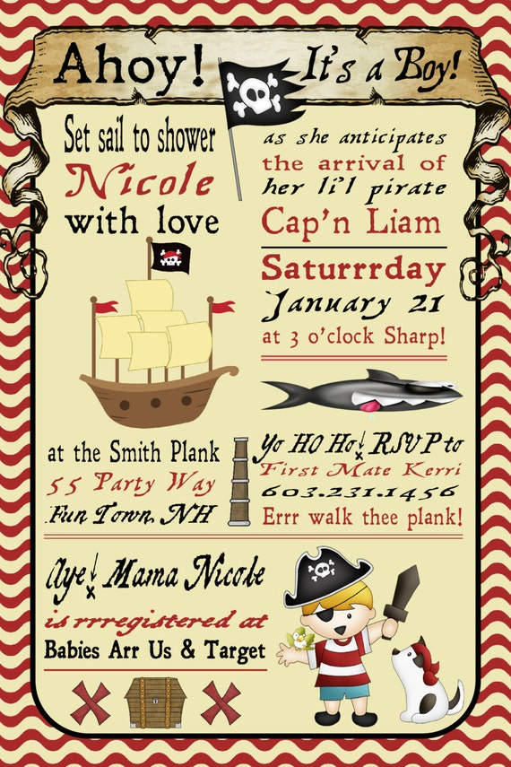Baby Shower Invitation Pirate Boy Invitation Pirate Shower