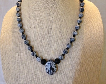Pinolith and Black Onyx Statement Necklace