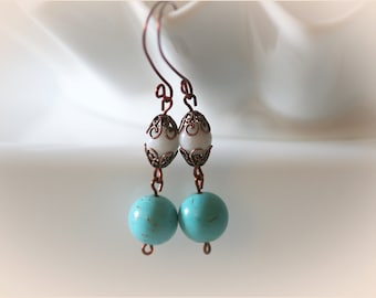 Turquoise Magnesite and Snow Quartz Copper Earrings. Boho Chic Jewelry