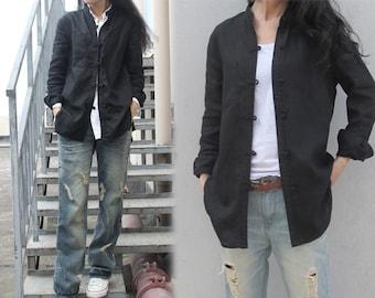 214---Women's Stand Collar Black Linen Shirt, Black Chinese Linen Jacket, Cheongsam, Made to measure.