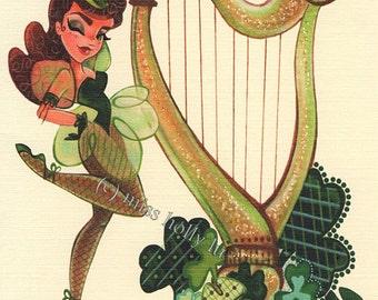 St Pattys Day Party Invitation, St. Patricks Day Note Card, Irish Girl in Green, Harp, Shamrocks, Linen Card Stock by MissHollyLu