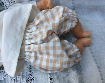 Clothing labels bloomer for babies of 30 cm natural gingham