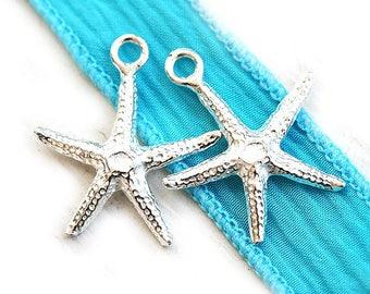 Silver Starfish charms, sea star beads, Greek metal casting, nautical beach charms - 20mm - 2pc - F026