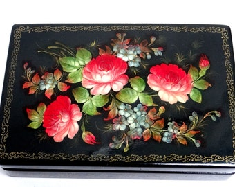 Russian Box - Fedoskino Russian Lacquer Box - Handpainted Red Roses Flower Ornament, Vintage Jewellery Box, Papier Mache Box, Palekh  Box