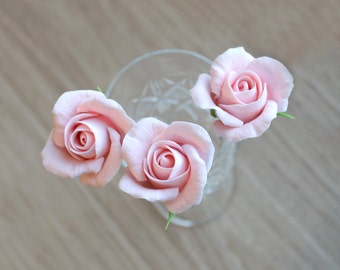 Set of 3 hair pins with rose roses, rose hairpin, bridal hairpins, polymer clay roses, floral jewelry
