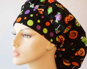 Halloween Candy Treats Bouffant Pumpkins All Over Scrub Hat  With A Polka Dot Halloween Headband Made in USA
