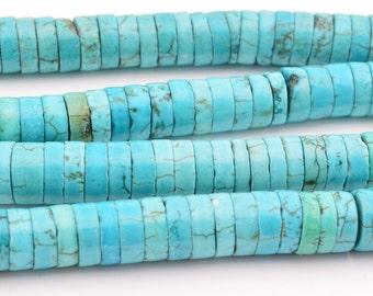 "16"" 3mm x 8mm blue turquoise heishi beads"