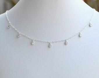 Handmade Sterling Silber Zirkonia Teardrop Halsreif, Sterling Silber, CZ-Halsband, Sterling Silber Halskette, Hochzeitsschmuck, N064