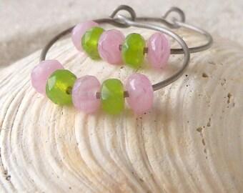Hoop Earrings - Hypoallergenic - Pure Titanium Earrings - Spring Earrings - Pink Earrings - Green Earrings - Earrings for Sensitive Ears
