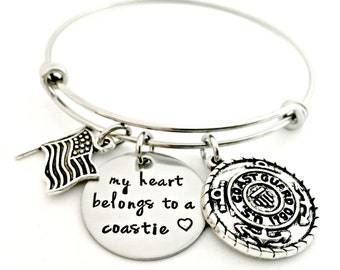 Coastie Bracelet - Deployment Military Wife Jewelry - My Heart Belongs to a Coastie Expandable Bangle - Coast Guard Wife Girlfriend Fiance