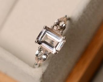 Morganite ring, promise ring, three stone ring, sterling silver, pink morganite